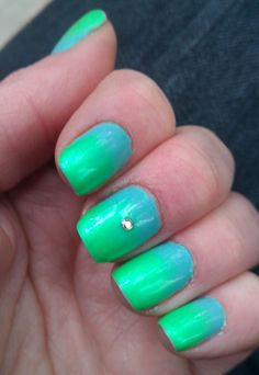 Tiffany Blue and Neon Green gradient with an Aurora Borealis Swarovski crystal.