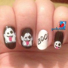 ghost emoji nailart