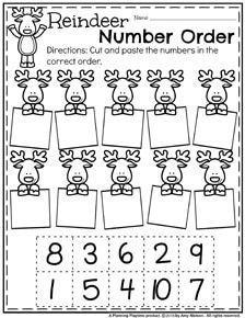Preschool Counting Worksheets for December - Reindeer Number Order.