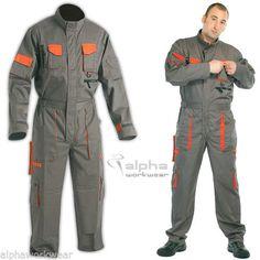 Overall Men Work Wear Uniform Boiler Suit Coveralls Mechanics DES Grey-Orange. Mechanic Overalls, Work Overalls, Work Pants, Space Suit Costume, Safety Clothing, Tactical Clothing, Work Uniforms, Future Clothes, Boiler Suit