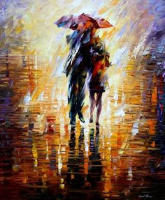 """TOGETHER IN THE STORM -  PALETTE KNIFE Oil Painting On Canvas By Leonid Afremov -  Size 36"""" x 30"""""""