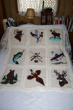 Watch The Video Alluring Beginner Crochet Blanket Ideas. Crochet Fish, Crochet Deer, Crochet Quilt, Crochet Blocks, Crochet For Boys, Tunisian Crochet, Crochet Squares, Crochet Yarn, Crotchet