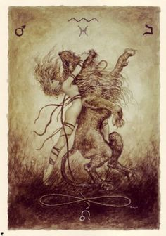Strength Tarot Card - very cool illustration. I've been wanting to tie in a lion to my next tattoo. Love this design.