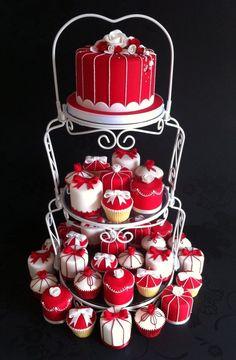 Red & White Cake, Cupcakes, Mini Cakes
