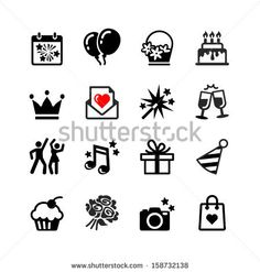 Party, Birthday, celebration - web icon set - stock vector