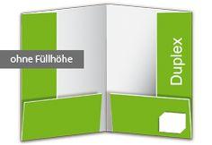 """Präsentationsmappe Duplex - Füllhöhe ausreichend für ca. 3 bis 4 Blatt. Die Präsentationsmappe """"Duplex"""" verfügt über zwei Taschen für Ihre Dokumente und Unterlagen. Zusätzlich haben Sie die Möglichkeit, auf der rechten unteren Lasche eine Visitenkarte einzustecken. http://www.myflyer.de/Produkte/Mappen/Mappe-Duplex.html"""