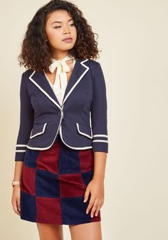 Academia Ahoy Blazer in Navy. Make way for a semester filled with your most creative essays, most refined equations, and of course, this most scholarly navy blue blazer! #blue #modcloth