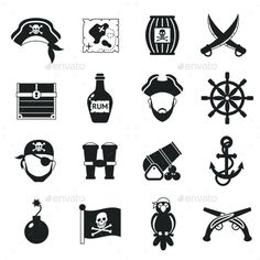 Golden age pirate adventures toy accessories pictograms for children party gameicons set black abstract vector illustration. Edita