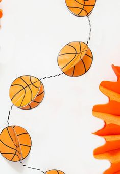Basketball Garland Tutorial by Lindi Haws of Love The Day Basketball Party Favors, Basketball Birthday, Basketball Gifts, Basketball Cakes, Diy Party, Party Gifts, Party Ideas, Party Fun, Perfect Party