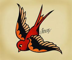 love the color work in traditional american tattoo style