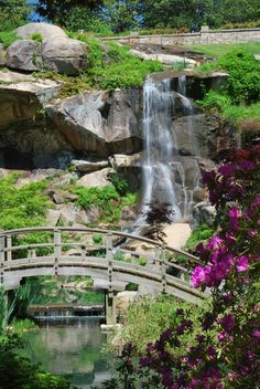 Waterfall at Japanese Garden, Maymont. Richmond, Va.     credit R. Shrestha