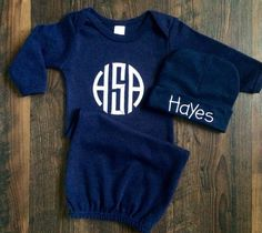 Boy Coming Home Outfit   Monogrammed Baby Boy Gown   Navy Gown   Navy Take  Home Outfit   Boys Baby Shower Gift   Newborn Gown and Hat Set f6b22e590917