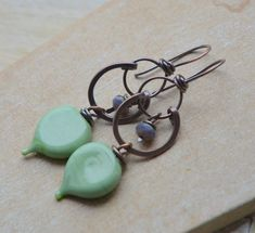 Copper and Green Lampwork Glass Leaf Headpin Earrings £19.00