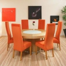 Round Dining Table In Light Oak +6 Orange High Chairs - Reduced to £1,599.00