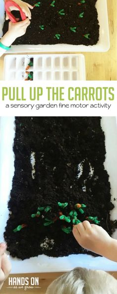 Create a garden fine motor sensory activity with your preschooler! Build hand strength and explore the season of spring together. via @handsonaswegrow