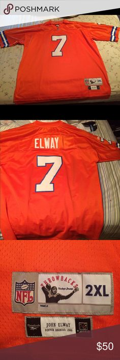 John Elway Denver Broncos Jersey Reebok John Elway Denver Broncos throwback jersey. Size XXL Reebok Shirts Tees - Short Sleeve
