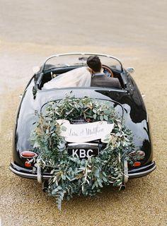 green getaway car decor via paula ohara Marie's Wedding, Wedding Exits, Wedding Blog, Wedding Flowers, Dream Wedding, Wedding Cars, Wedding Ideas, Irish Wedding, Wedding Album