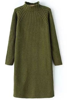 Shop Mock Neck Green Sweater Dress at ROMWE, discover more fashion styles online. Long Sleeve Turtleneck Dress, Green Long Sleeve Dress, Green Turtleneck, Dress Long, Green Sweater Dress, Knit Dress, Green Dress, Clothing And Textile, Business Outfits