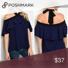 PREORDER Navy tie back top w/black trim Beautiful off shoulder Ruffle top in navy and black - flowy fit - tie back Tops
