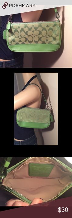 """""""NWOT"""" AUTHENTIC COACH DEMI SIGNATURE GREEN BAG AUTHENTIC COACH DEMI SIGNATURE HANDBAG GREEN  AUTHENTIC COACH NO J052-6094 SMALL HANDBAG. THE MATERIAL IS SIGNATURE JACQUARD WITH LEATHER TRIM.  APPROXIMATE MEASUREMENTS ARE: LENGTH 8.5"""", HEIGHT 5"""", DEPTH/WIDTH 2.5"""" MEASURED AT WIDEST POINT, STRAP DROP 6.5"""".   Rtt Coach Bags Mini Bags"""