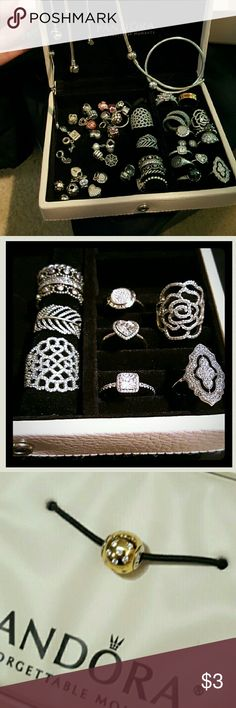 TRADING Pandora Jewelry  (for TRADES only) Trading authentic Pandora for things! - some are not available anymore- mostly are! New, like new,great used condition Only for trades!!! Rings sizes 6 to 8 I have 2 Pink leather jewelry box for sale or trade ask if interested Pandora Jewelry