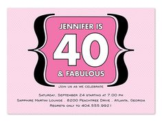 40th Birthday Invitations by InvitationConsultants.com 40th Birthday Invitations, 40th Birthday Parties, Invites, Birthday Ideas, 40 And Fabulous, Pin Up, Party Ideas, Pinup, Ideas Party