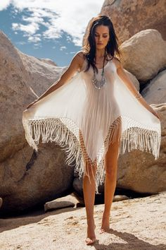 ️️️️Boho chic fringe tank dress. FOLLOW > https://www.pinterest.com/happygolicky/the-best-boho-chic-fashion-bohemian-jewelry-gypsy-/ NOW for the BEST Bohemian fashion & carefree lifestyle trends.