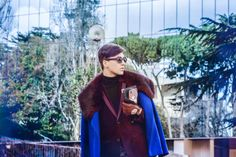 / Coat designed by myself  / Watch Rolex  / Trousers  designed by myself / /Jacket Reserved  / Shoes Nike  / Bag H&M / Sweater Sisley     Photography : Jacek Juras