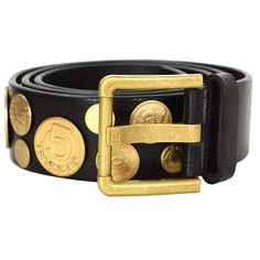 Preowned Chanel Black Leather & Gold Medallion Belt Sz 95 ($715) ❤ liked on Polyvore featuring accessories, belts, black, 100 leather belt, chanel, buckle belt, chanel belt and genuine leather belt