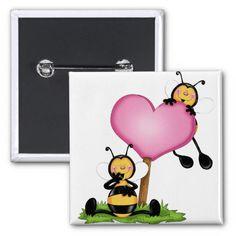 """Botão """"Casal de abelhinhas"""" Bóton Quadrado 5.08cm"""
