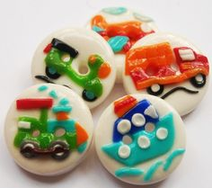 Mini vehicles  polymer clay handmade buttons by ayarina on Etsy, $9.75