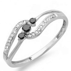 Share and get $20 off your order of $100 or more. 0.20 Carat (ctw) 18k White Gold Round Black And White Diamond Ladies 3 stone Engagement Promise Ring 1/5 CT - Dazzling Rock #https://www.pinterest.com/dazzlingrock/