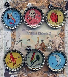 Mexican Loteria Beer and Wine Drink Charms