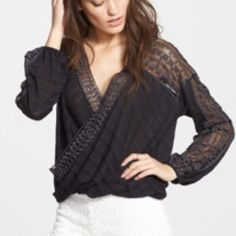 Free people hi-lo city mesh It's long sleeve with embroidered mesh panel trim on the shoulders, sleeves, and neckline. 41% cotton 31% rayon 28% polyester ❌no trade❌ Free People Tops Blouses