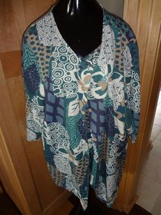 NWT Hot Cotton Teal Green Flower Cardigan & Shirt Set SZ 2X