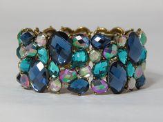 Estate Signed JOAN RIVERS Blue Sapphire & Aqua Rhinestone Stretch Cuff Bracelet