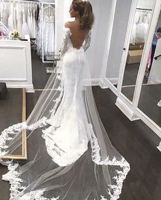 Open Back Mermaid Fashion Tailored wedding dress with long sleeves - Brautkleid a linie - Wedding dresses Long Sleeve Wedding, Wedding Dress Sleeves, Dream Wedding Dresses, Bridal Dresses, Wedding Gowns, Lace Wedding, Backless Wedding Dresses, Wedding Venues, Lace Sleeves