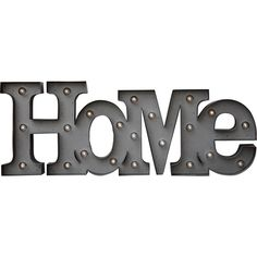 Dot & Bo Homey Marquee Sign ($69) ❤ liked on Polyvore featuring home, home decor, wall art, decor, words, typography wall art, metal wall art, text signs, welcome sign e metal home decor
