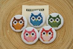 Cross Stitch Embroidery Owl button badges and keyrings in cross by stitchedupbyleona - Tiny Cross Stitch, Cross Stitch Books, Cross Stitch Designs, Cross Stitch Patterns, Cross Stitching, Cross Stitch Embroidery, Pixel Crochet, Cross Stitch Christmas Ornaments, Plastic Canvas Patterns