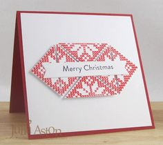 Create With Me: A simple Christmas card using Waltzingmouse Stamp set Nordic Winter.  I stamped the square poinsettia stamp 3 times, cut each square in half corner to corner and reassembled as triangles.