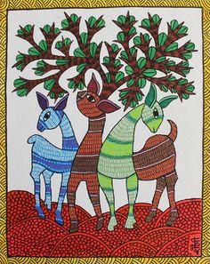 Gond painting - Deer Art Print by shaileebarde Art Drawings Simple, Rajasthani Painting, Indian Art Paintings, Gond Painting, Madhubani Art, Mandala Design Art, Madhubani Painting, Diy Canvas Art Painting, Tribal Art Drawings