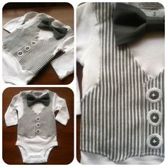 Bow Tie and Vest Onesie - Wedding Ring Bearer Outfit - Boutique Baby Boy Clothes - Seersucker and Gray Bow Tie - long or short sleeve. $39.99, via Etsy.
