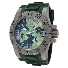 The Invicta Men's 1094 Excursion Green Camouflage Dial Green Polyurethane Watch features a stainless steel titanium sandblast case with a green rubber strap. A rugged titanium bezel with camouflage dial. Arabic numerals mark the 3, 6, 9 and 12 o'clock positions and the date appears at the 3 o'clock position.$151.09