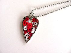 Button Filled Heart Pendant FREE US Shipping by AllAboutTheButtons