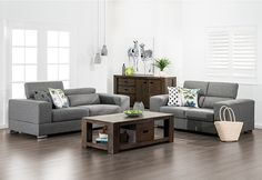 Manny Fabric Sofa Pair with Adjustable Head Rests | Super Amart