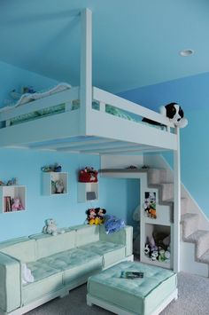 This is Andrew's favorite design for a lofted bed -- but in black instead of white and the carpet on the stairs in blue.