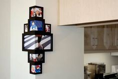 Wrap around corner frame : A new way to display pictures. The Wrap Around the Corner Frame can hold up to 12 photos of various shapes and sizes, and is the perfect frame for a montage of your favorite vacation photos, a collage of your most smiley friends, or portraits of your cat taken every month for a year.