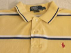 POLO RALPH LAUREN golf shirt, men's LARGE. YELLOW with blue stripes. The pony logo is red. Looking good. #Polo #PoloRugby