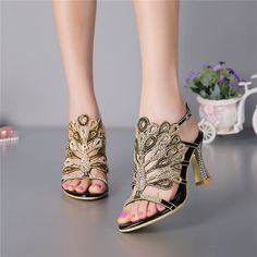 13ffb44ceff0 2017 Summer New Korean Elegant Heels Women s Shoes Diamond Peep Toe Sandals  Size 11 Black Wedding High Heel-in Women s Sandals from Shoes on  Aliexpress.com ...