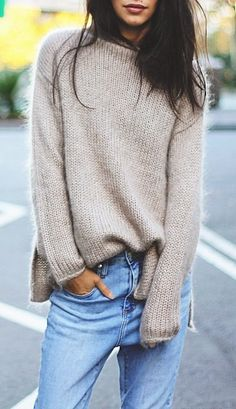 fall fashion outfit knit + jeans